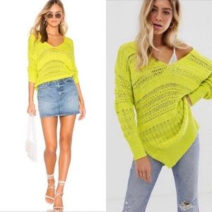 Free People Hot Topics Sweater lime green M
